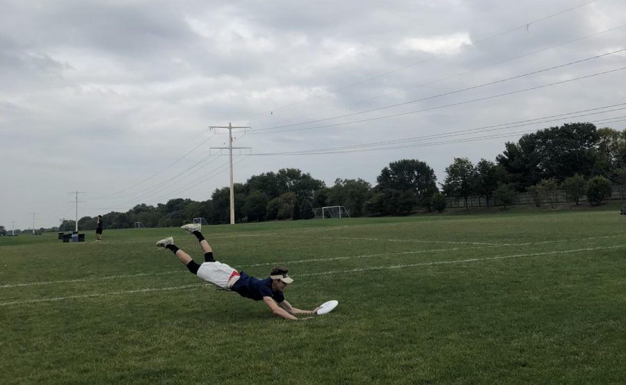 Sam Swiatek does a move called a layout to catch the frisbee in mid-air. It is a technique that is utilized often in the sport.