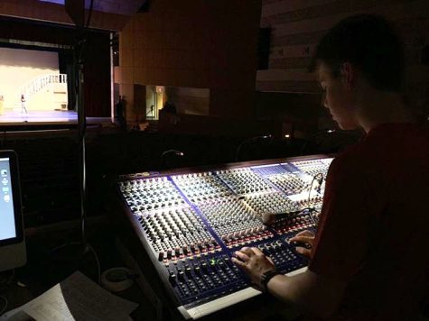 "Wujek working the audio board during a dress rehearsal for the upcoming musical ""The Sound of Music"". Wujek estimates that over the course of his high school career he has worked tech on close to fifteen shows. Photo Courtesy of Luke Wujek."