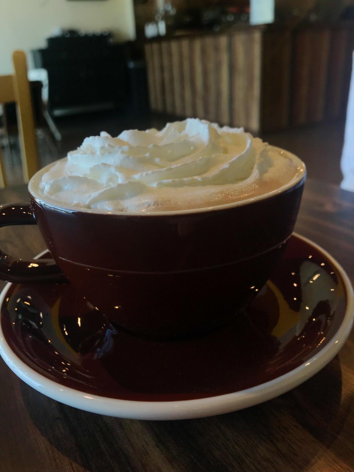 Hot Chocolate from Yogi's Cafe topped with delicious whipped cream