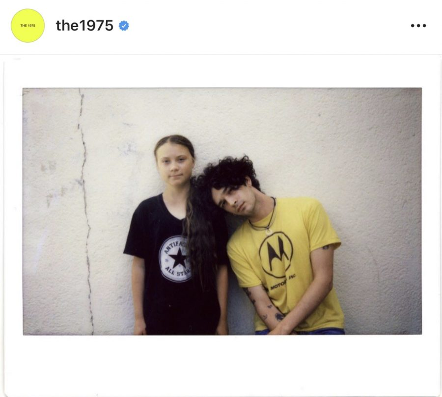 Lead+singer+of+The+1975%2C+Matty+Healy%2C+pictured+with+Greta+Thunberg+on+%40The1975+instagram.