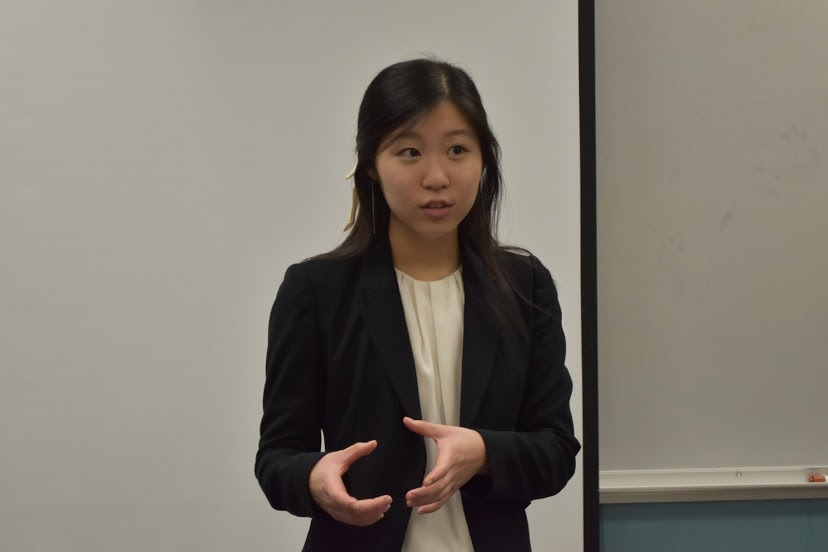 Grace Lee, a Neuqua Valley student, leading a Senior Class Student Council meeting.