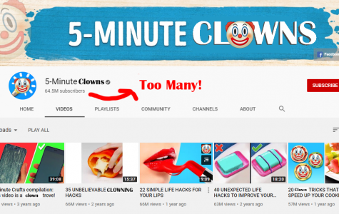 My rendition of 5 Minute Craft's YouTube page, complete with clowns galore.