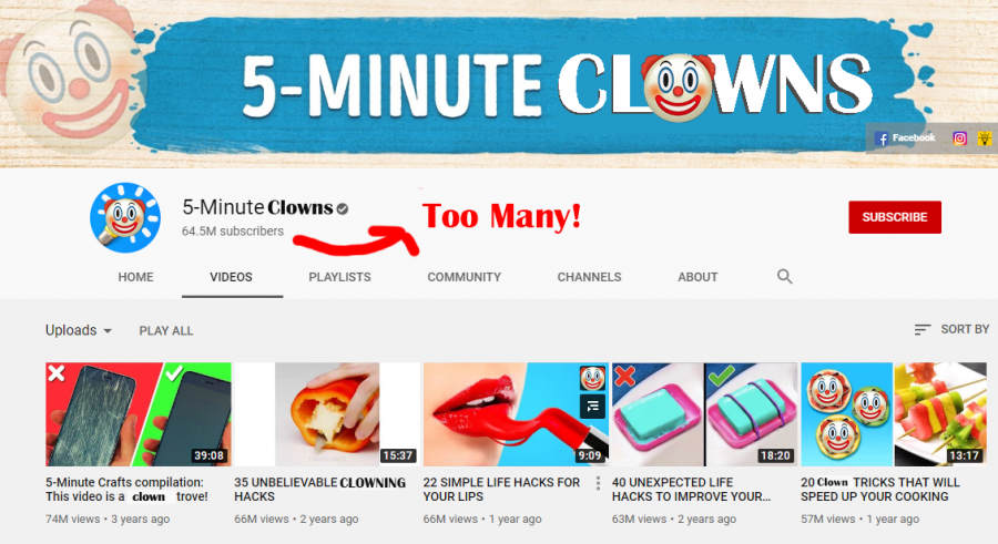 My+rendition+of+5+Minute+Craft%27s+YouTube+page%2C+complete+with+clowns+galore.