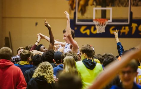 The Neuqua Valley Gold Rush section Waubonsie Night (2/7/2020). Pictured is Connor Davis being carried after the game winning shot.