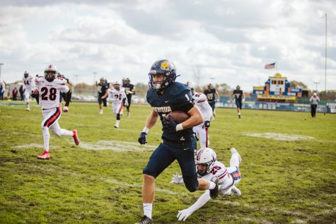 Pictured is Patrick Hoffman playing at home as Neuqua Valley's wide receiver. Photo courtesy of Jason Verdin.