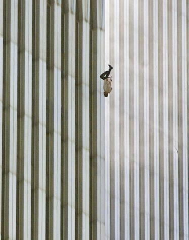 """This image of a falling man from the Twin Towers led to public outburst of emotion. When asked about the photo, the photographer, Richard Drew, wanted people to view the man as an """"unknown soldier"""" who he hopes """"represents everyone who had that same fate that day."""" Drew"""