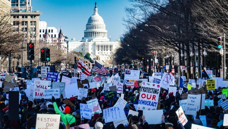 Protesters at the United States Capitol building, protesting for democracy.