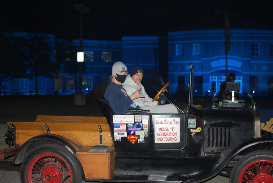 Ryan Scott and his dad drove to campus in one of the more unique vehicles of the night.