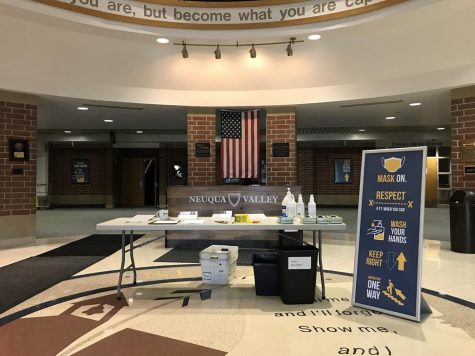 Neuqua recently held an SAT on October 3rd for anyone who could sign up in time. Students had to affirm they had no COVID-19 symptoms or have been in contact with anyone who has. The front desk was covered in various sanitation items, and hall monitors were around to ensure social distancing.