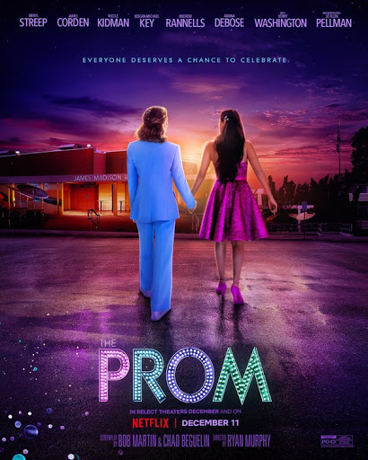 The Prom movie poster depicts a same sex couple hand in hand.