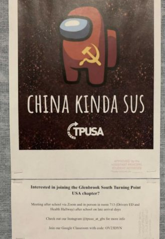 """Based on the popular game """"Among Us"""", the poster above shows a red imposter character with a China symbol on it, with the words """"China Kinda Sus"""". This poster has been criticized as racist and insensitive by several GBS students."""