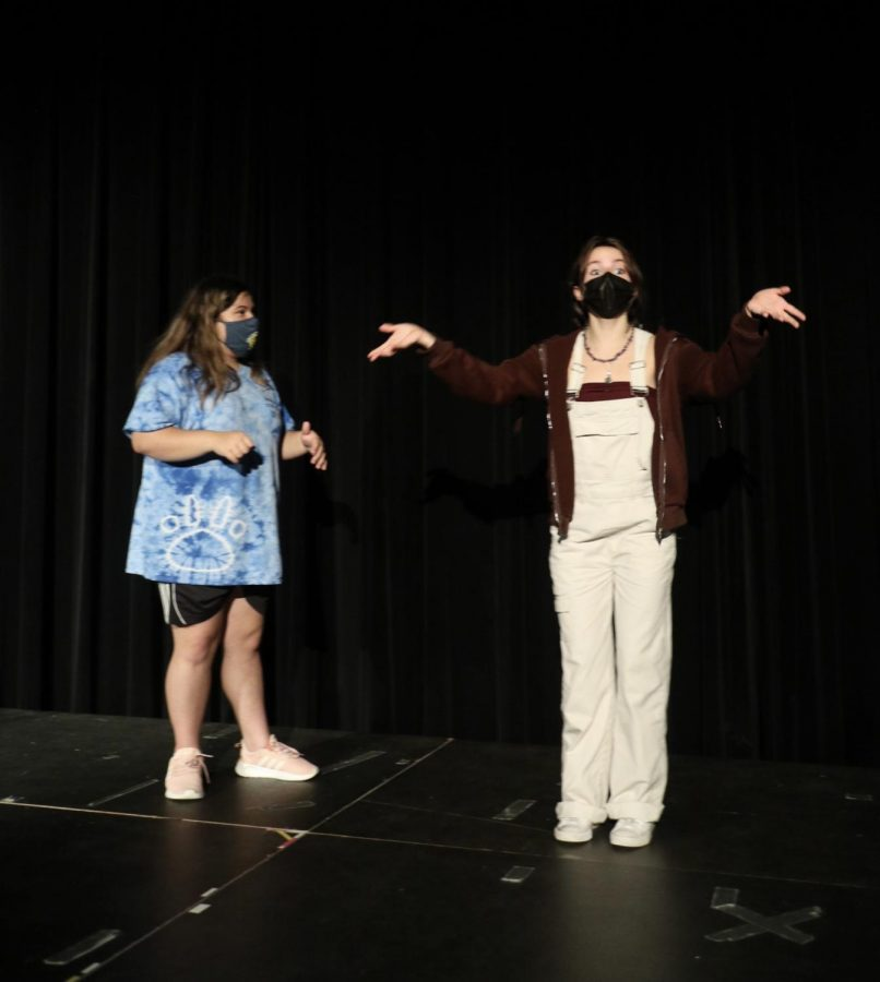 Because they had to wear a mask, students are extra expressive when performing in improv.