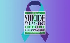 A purple and turquoise ribbon is the symbol for suicide awareness and prevention