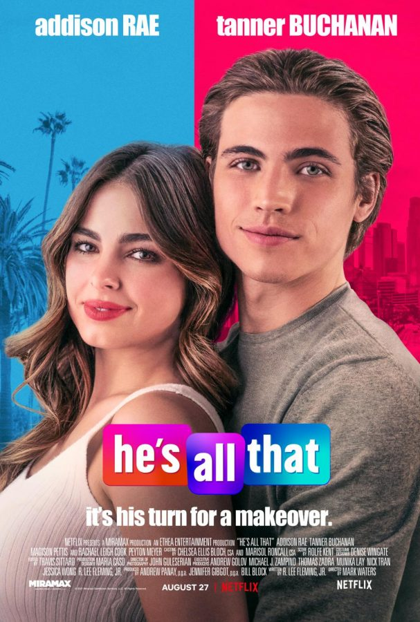 """Cover poster of Netflix's original movie starring Addison Rae, """"He's All That"""""""