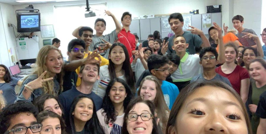 My+8th+Grade+science+class+featuring+a+large+majority+of+the+advanced+program%2C+Project+Arrow.+Most+students+in+the+program+were+Asian+or+white.+
