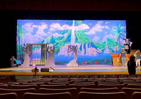 The Build Crew diligently works on the set for Tinker Bell.